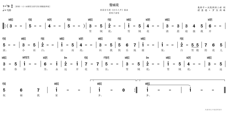 黑鸭子【雪绒花】风雅颂C调原调双和弦歌谱电子琴钢琴简谱网C调伴奏DEFGAB调带和弦简谱歌谱